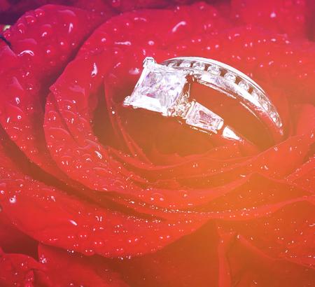 wedding ring in rose with vintage effect 版權商用圖片