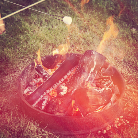 marshmellow: Roasting marshmellow with an open fire - With vintage effect