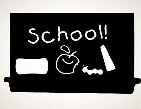 School Black Board with apple and school on the board Stock Photo