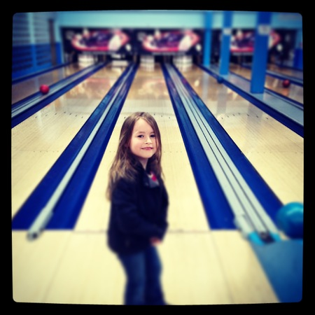 Young girl bowling -  With Instagram effect