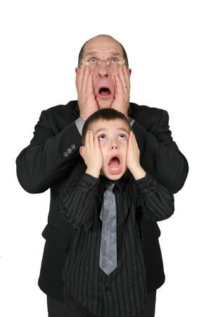 little business man: Big Business Man y Little Man Negocios junto con las manos en la cara, con expresi�n divertida