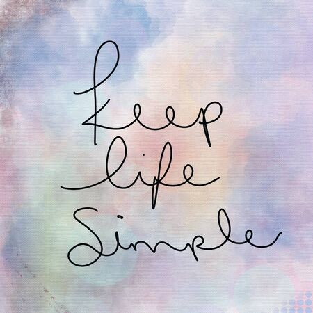 Inspirational Quote - Keep life Simple with water color background Banque d'images