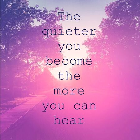 Inspirational Quote -The quieter you become the more you can hear with pink tone