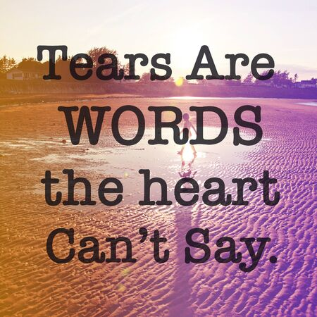 Inspirational Quote with lake background - Tears are words the heart cant say