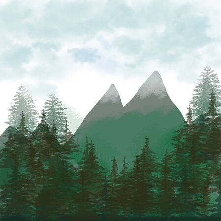 forest background, mountain landscape. tree firs with blue sky. Watercolor Painting style. illustration