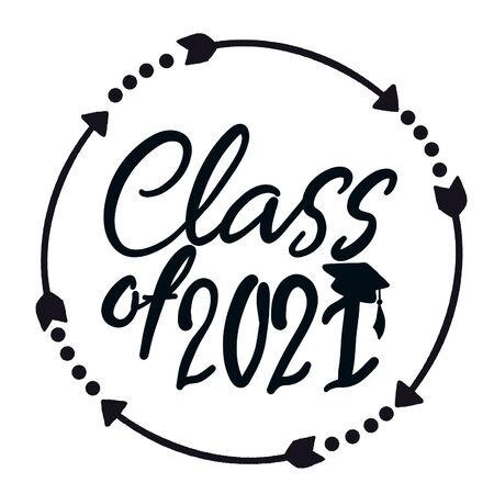 Class of 2021 handwritten with Graduation cap isolated on white. High quality illustration Stock Photo