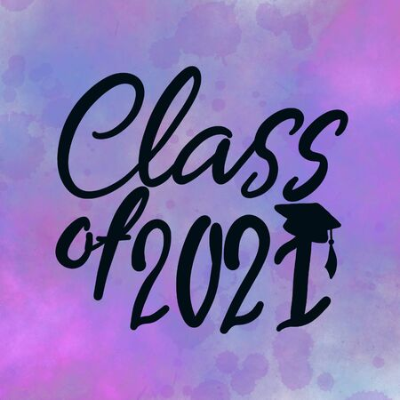 Class of 2021 handwritten with Graduation cap with abstract blue and purple background. High quality illustration