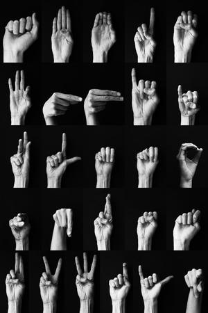 asl sign: American sign language alphabet Stock Photo