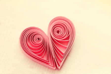 quilling: Quilling handmade heart. Made of paper heart in quilling style