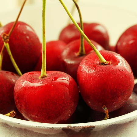 macro   photo: Beautiful red cherry  close up macro photo Stock Photo