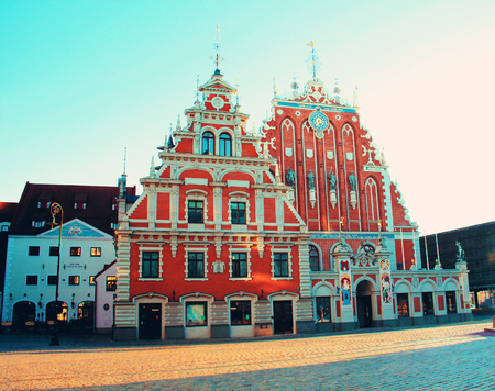 City Hall square with House of the Blackheads in Riga Old Town