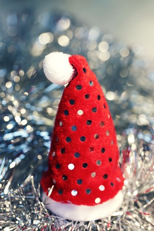 Christmas beautiful bright  background with santas red hat