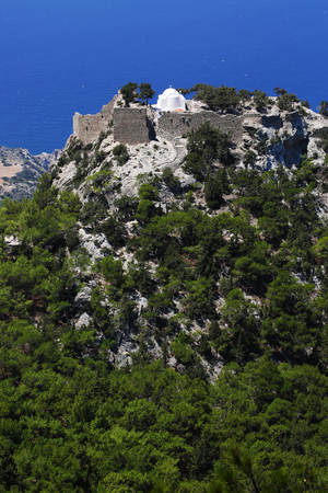 Monolithos castle landscape view on rhodes island Greece Stock Photo