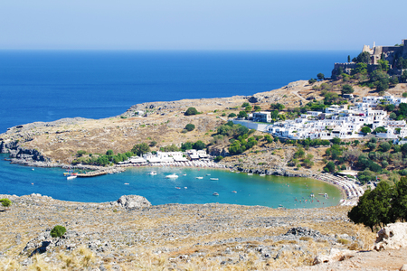 Lindos city castle located on Rhodes island in Greece Stock Photo