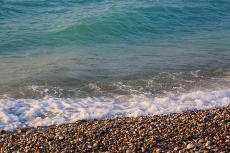 Greece, Aegean sea with waves, landscape beautiful bright photo Stock Photo