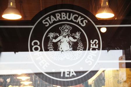 SEATTLE, WA - July 2018 -  logo of Starbucks Cafe and Starbucks American Corporation
