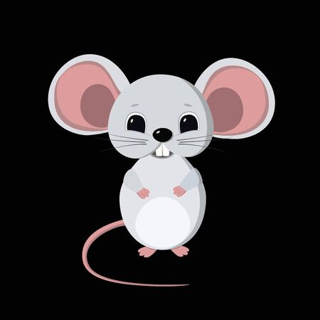 Cute little mouse symbol of New Year 2020. White metal rat according to the Chinese horoscope. Isolated vector illustration on black background, template, clipart. Vektorgrafik