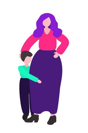 A woman protects a child. The boy is hiding from the bullying. Vector concept - stop violence, harassment and child abuse. Isolated illustration in a flat design on a white background.