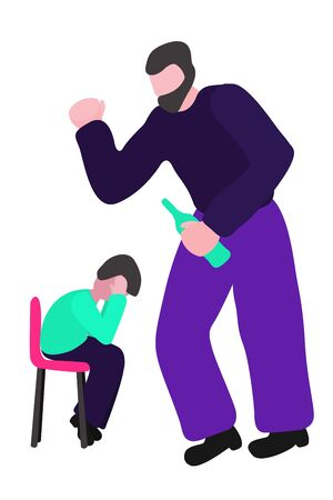 Drunk father swings at the boy. A man beats a child. Concept vector - stop alcoholism, domestic and family violence, harassment and child abuse. Isolated illustration in a flat design on a white background.