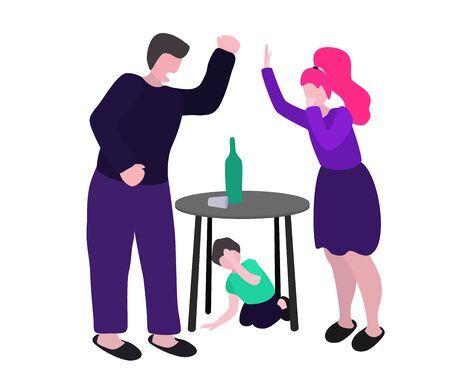 Drunk husband quarrels with his wife. A man beats a woman and a child. Vector conception - stop alcoholism, domestic and family violence, harassment and child abuse. Isolated illustrations in flat design on a white background.