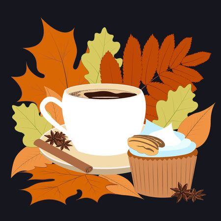 Concept illustration - coffee warms us in the fall. The time of year is autumn. Bright leaves - orange, yellow, red, appetizing muffin and fragrant condiments of anise and cinnamon. Layered vector suitable for social media, cards and banners.