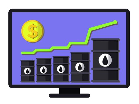 Record oil price increase - conceptual vector. Graph of financial growth. Flat composition includes oil barrels, arrow and coin. Layered template for landing pages, banners, web and posters.