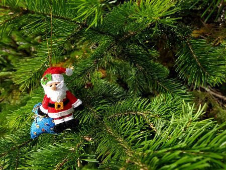 Christmas felt decoration on a spruce branch. Handmade bauble figurines of Santa Clause. Holiday background with a copy space. Stock fotó