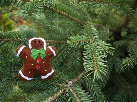 Christmas felt decoration on a spruce branch. Handmade bauble figurines a gingerbread. Holiday background with a copy space.