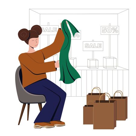 A modern girl parses purchases on the background of the showcase of the sale, she holds a neck scarf. Virtual shopping and augmented reality in retail. Vector concept illustration about ar and bp at stores.