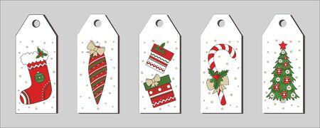 New Year and Christmas set of gift tags in the style of hand drawing. Traditional holiday items on a white background. Bright cartoon labels for printing. Vector illustration.