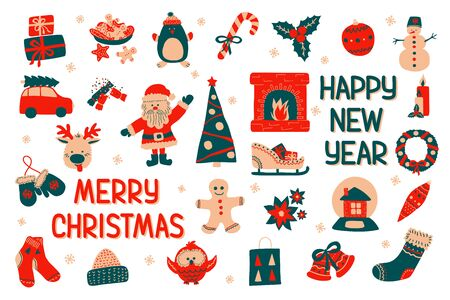 A large set of Happy New Year and Merry Christmas elements in Scandinavian style with holiday inscriptions. Vector illustration - clip art collection of cute characters isolate on a white background.