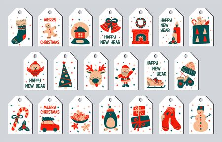 Vector illustration - New Year and Christmas set of gift tags in the style of Scandinavian simple hand drawing. Traditional holiday cute characters. Bright labels for printing.