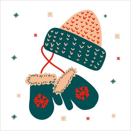 Chapeau et mitaine traditionnels de Noël pour des cadeaux dans un style scandinave dessiné à la main. Illustration vectorielle, un objet lumineux simple, format carré. Convient pour les médias sociaux.