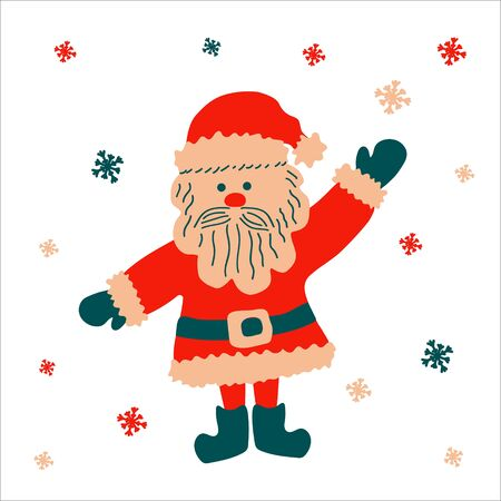 Christmas traditional funny cartoon character Santa Claus welcomes with raised hand on a white background with snowflakes. Vector illustration, in scandinavian hand drawn style, square format.
