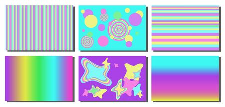 Petrol gradient and geometric patterns set of rainbow abstract background in bright neon colors in a trendy style. Vector illustration - suitable for social media, landing pages, web banners, templates.