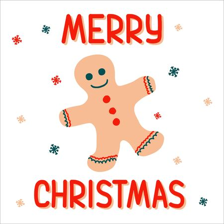 Christmas gingerbread man on a white background with a pattern of snowflakes in scandinavian hand drawn style with lettering. Vector illustration - suitable for a greeting card or banner