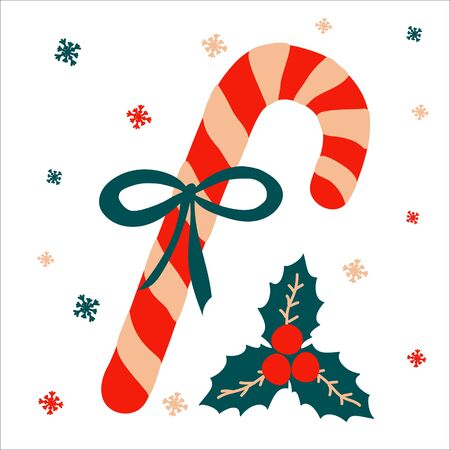 Christmas traditional sweet gift candy cane with a bow and beside it lies mistletoe on a white background with snowflakes in scandinavian hand drawn style. Vector illustration, simple object, square.