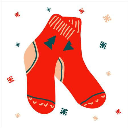 Christmas traditional boot for gifts in scandinavian hand drawn style with lettering. Vector illustration, one simple bright object, square format. Suitable for social media.