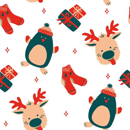 Seamless vector pattern New Year and Christmas in the style of Scandinavian simple hand drawing. Traditional holiday cute penguin, socks, reindeer. Bright ornament for print, wrap, textile, fabric.