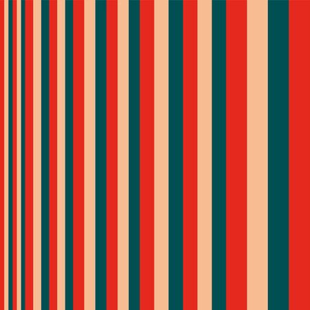 Seamless pattern of stripes of red, green and beige, the width of the strips from narrow to wide. Made in a minimalistic style of hand drawing. Used as a print for fabric, wrapping paper, wallpaper and decor.