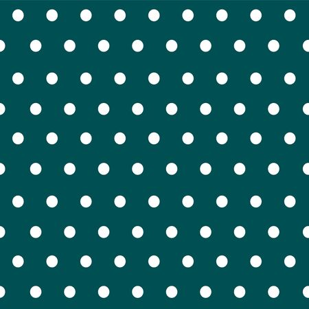 Polka dot geometric seamless pattern in vintage style on a vivid green background. Simple vector illustration in a repeat minimalistic designe. Used as a print texture for fabric, wrapping paper, wallpaper.