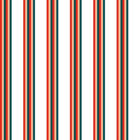 Seamless vector pattern of narrow stripes of red, green and beige color on a white background. Made in a minimalistic style of hand drawing. Used as a print for fabric, wrapping paper, wallpaper and decor.