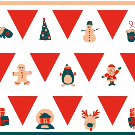 Christmas seamless border horizontal pattern of repeating red triangles and cute characters - Santa Claus, snowman, deer, penguin, gingerbread man on a white background in the traditional Scandinavian style Çizim