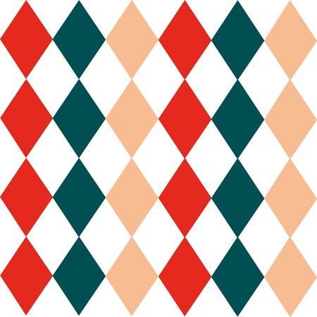 Argyle seamless Christmas pattern - made of repeat red, green and beige diamonds. Made in the traditional Scandinavian style of hand drawing. Used as a print for fabric, wrapping paper, wallpaper and decor