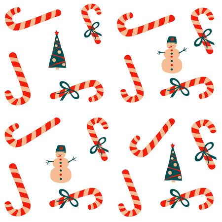 Seamless vector pattern New Year and Christmas in the style of Scandinavian simple hand drawing. Traditional holiday symbol - candy cane, bow, ribbon, snowman, fir tree. Bright ornament for print, wrap, textile, fabric Çizim