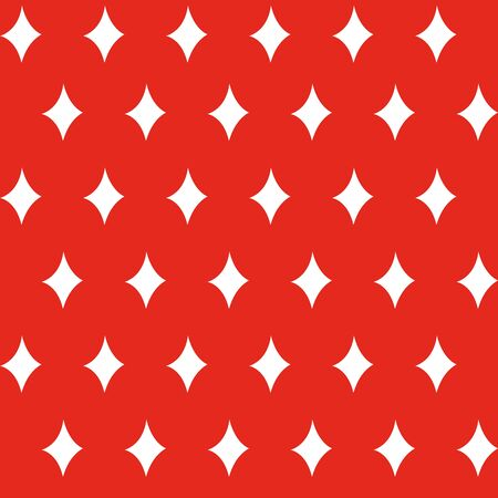 Diamond stars seamless christmas pattern - white figures on the red background. Vector illustration made in the traditional style of hand drawing. Used as a print for fabric, wrapping paper, wallpaper and decor Çizim