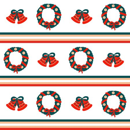 Christmas seamless vector border pattern in horizontal repeating stripes of red, green and beige and holiday symbols - wreath and bells on a white background. Used as a print texture for fabric, wrapping paper, wallpaper Çizim