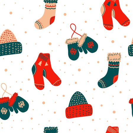 Seamless vector new year and christmas pattern in scandinavian simple hand drawing style. Traditional festive winter warm clothes - socks, hats, mittens. Bright ornament for print, wrapping, textile, fabric