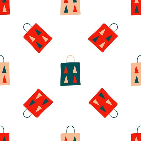 Seamless Christmas pattern of repeating holiday elements - gift paper bags with fir trees on a white background. Vector illustration in scandinavian style of hand drawing. Ornament for print, wrap, fabric.