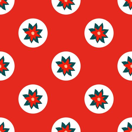Bright red seamless Christmas pattern of repeating elements - white circles with poinsettia in the center. Vector illustration in a festive style of hand drawing. For fabric, wrapping paper, wallpaper
